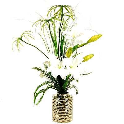 Furniture-LCGFlorals Tiger Lily's with Cypress Grass and a Fern in an Embossed Jar