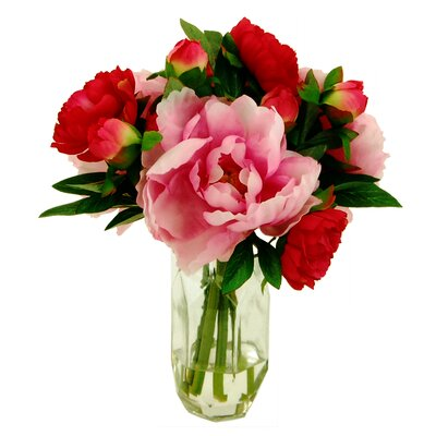 Mixed Peony Bouquet in Glass Vase 16W28R