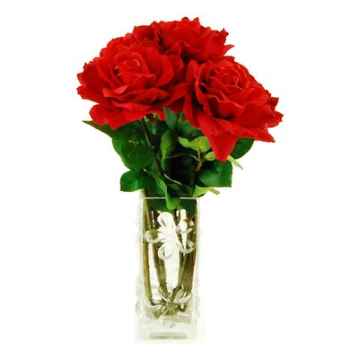 Roses in Glass Vase Flower Color: Red 16W62R