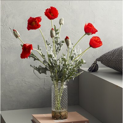 Poppies in a Hobnail Jar with River Rocks and Faux Water