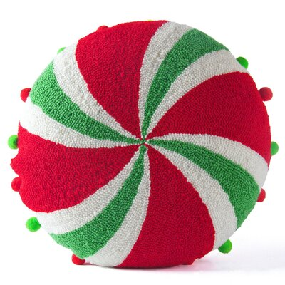 Handmade Hooked Candy Christmas Throw Pillow