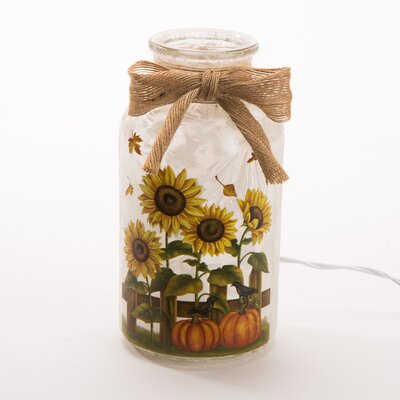 Lighted Frosted Sunflower Glass Mason Jar