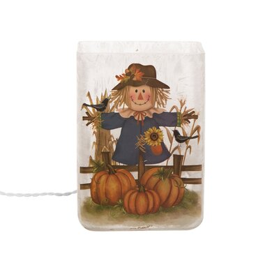 Frosted Scarecrow Rectangle Glass Hurricane
