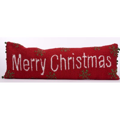 Handmade Hooked Merry Christmas Lumbar Pillow