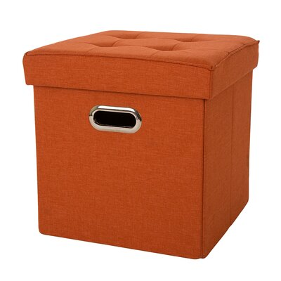 Storage Ottoman Upholstery: Orange