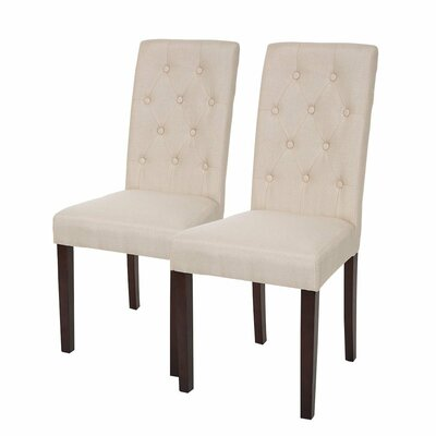 Padded Fabric Parsons Chair Upholstery: Cream White