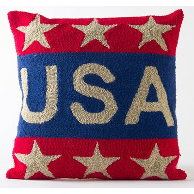 Hooked Patriotic Throw Pillow