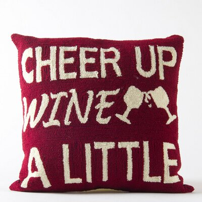 Hooked Cheer Up Wine Monogram Throw Pillow