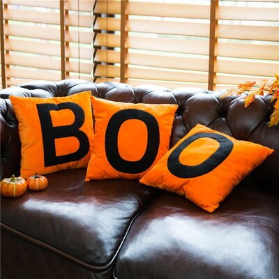 BOO Velvet Throw Pillow