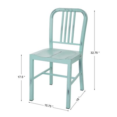 Vintage Metal Side Chair Finish: Light Blue