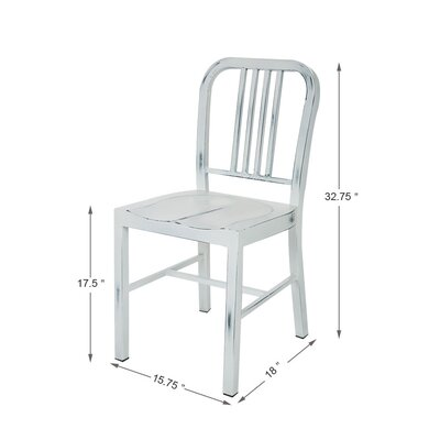 Vintage Metal Side Chair Finish: White
