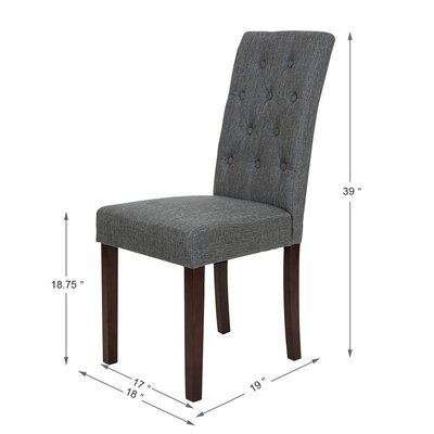 Padded Fabric Parsons Chair Upholstery: Dark Gray