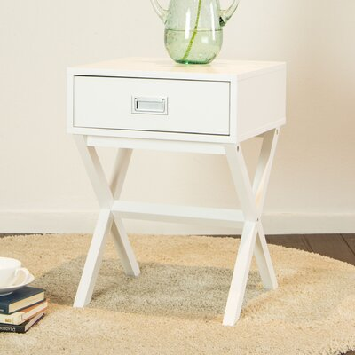 Arbuckle Wooden X-Shape End Table with Storage Color: White