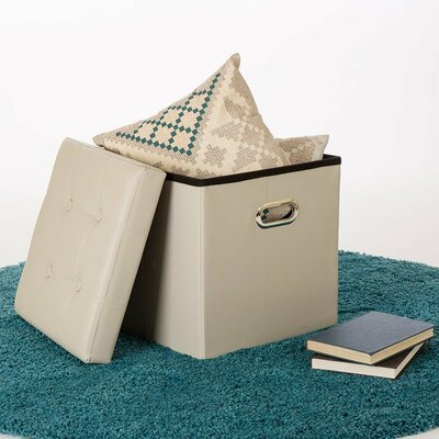 Foldable Cube Storage Ottoman Upholstery: Beige