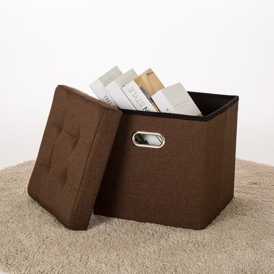Foldable Cube Storage Ottoman Upholstery: Coffee