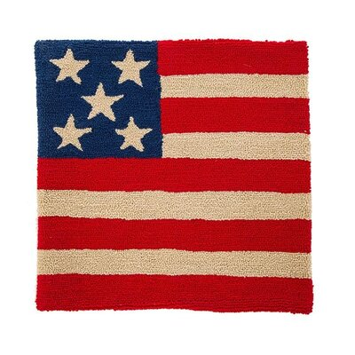 Marjorie Handmade Hooked Patriotic American Flag Outdoor Pillow Cover