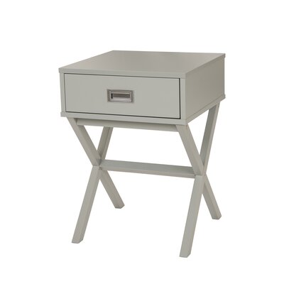 Arbuckle Wooden X-Shape End Table with Storage Color: Gray