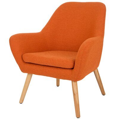 Volmer Mid Century Modern Barrel Chair Upholstery: Orange