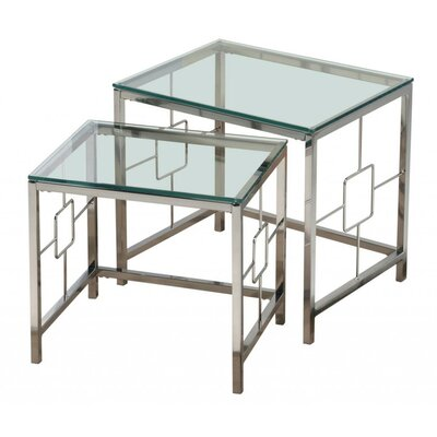 2 Piece Nesting Table Set Finish: Silver