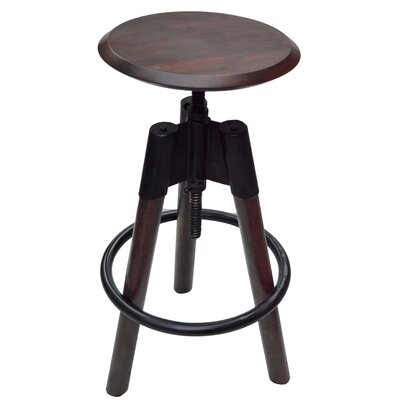 Adjustable Height Swivel Bar Stool Upholstery: Walnut