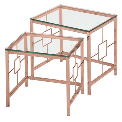 2 Piece Nesting Table Set Finish: Rose Gold