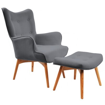 Retro Wingback Arm Chair and Ottoman Upholstery: Dark Grey