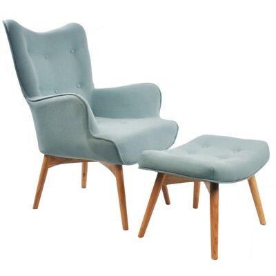 Retro Wingback Arm Chair and Ottoman Upholstery: Hazy Blue