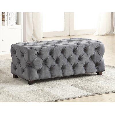 Button Tufted Velvet Ottoman Upholstery: Grey