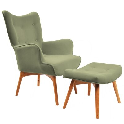 Retro Wingback Arm Chair and Ottoman Upholstery: Olive Green