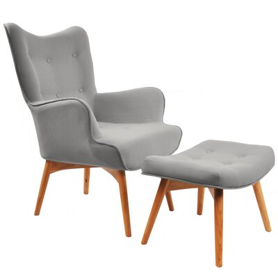 Retro Wingback Arm Chair and Ottoman Upholstery: Light Grey