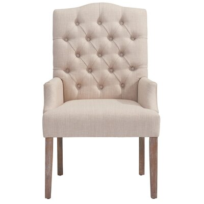 Linen Button Tufted Arm Chair Color: Beige
