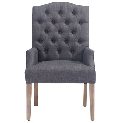 Linen Button Tufted Arm Chair Color: Gray