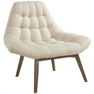 Oversize Waffle Tufted Fabric Lounge Chair Upholstery: Beige