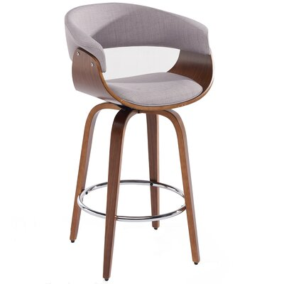 26 Swivel Bar Stool Color: Gray