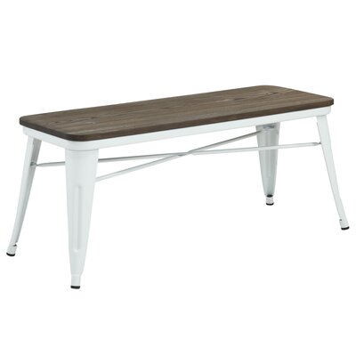 Metal Dining Bench Color: White