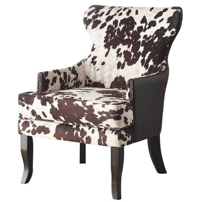 Faux Cowhide Accent Wing back Chair NCAA Team: Brown