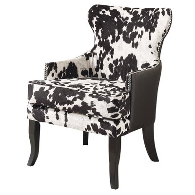 Faux Cowhide Accent Wing back Chair NCAA Team: Black
