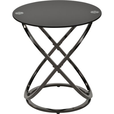 Jerrell Glass and Metal End Table Color: Black Nickel
