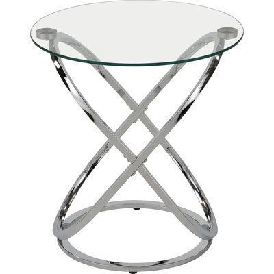 Jerrell Glass and Metal End Table Finish: Chrome