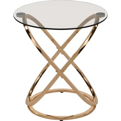 Jerrell Glass and Metal End Table Color: Gold