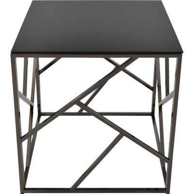 Jetta Glass and Metal End Table Color: Black Nickel