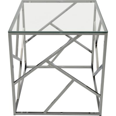Jetta Glass and Metal End Table Color: Chrome