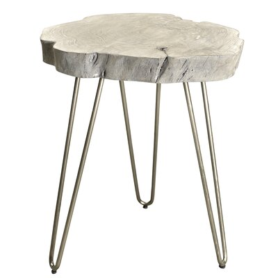 Burch Acacia Wood and Wrought Iron End Table Finish: Gray