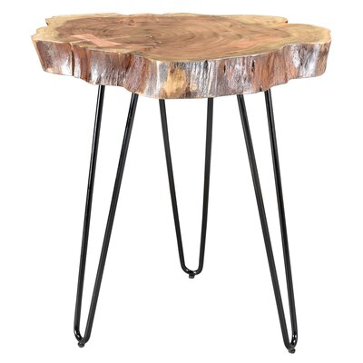 Burch Acacia Wood and Wrought Iron End Table Color: Natural