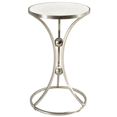Bellanger Marble and Wrought Iron End Table Color: Nickel