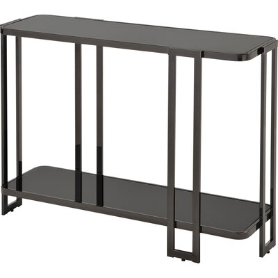 Jewell Glass and Metal Console Table Finish: Black Nickel