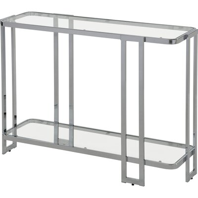 Jewell Glass and Metal Console Table Finish: Chrome
