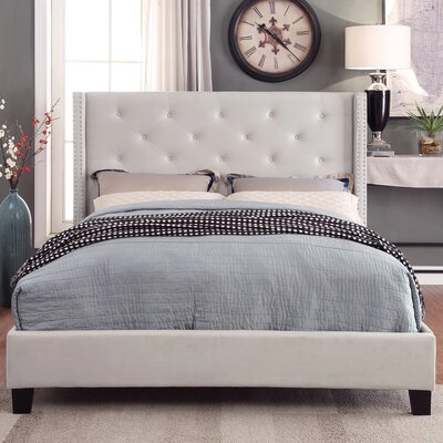 Elsmoriet Velvet Queen Upholstered Platform Bed Color: Ivory