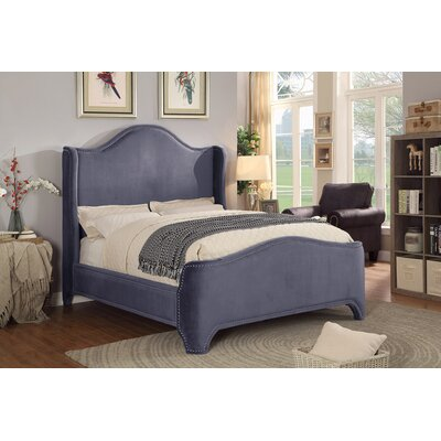 Brentley Velvet Queen Upholstered Platform Bed Color: Gray