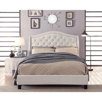 Virginia Queen Upholstered Platform Bed Color: Ivory